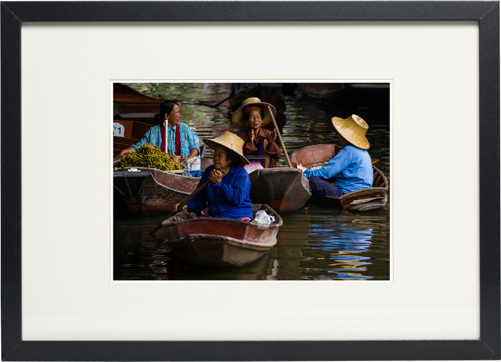 Photo of Floating Market in Thailand fine art print on display.
