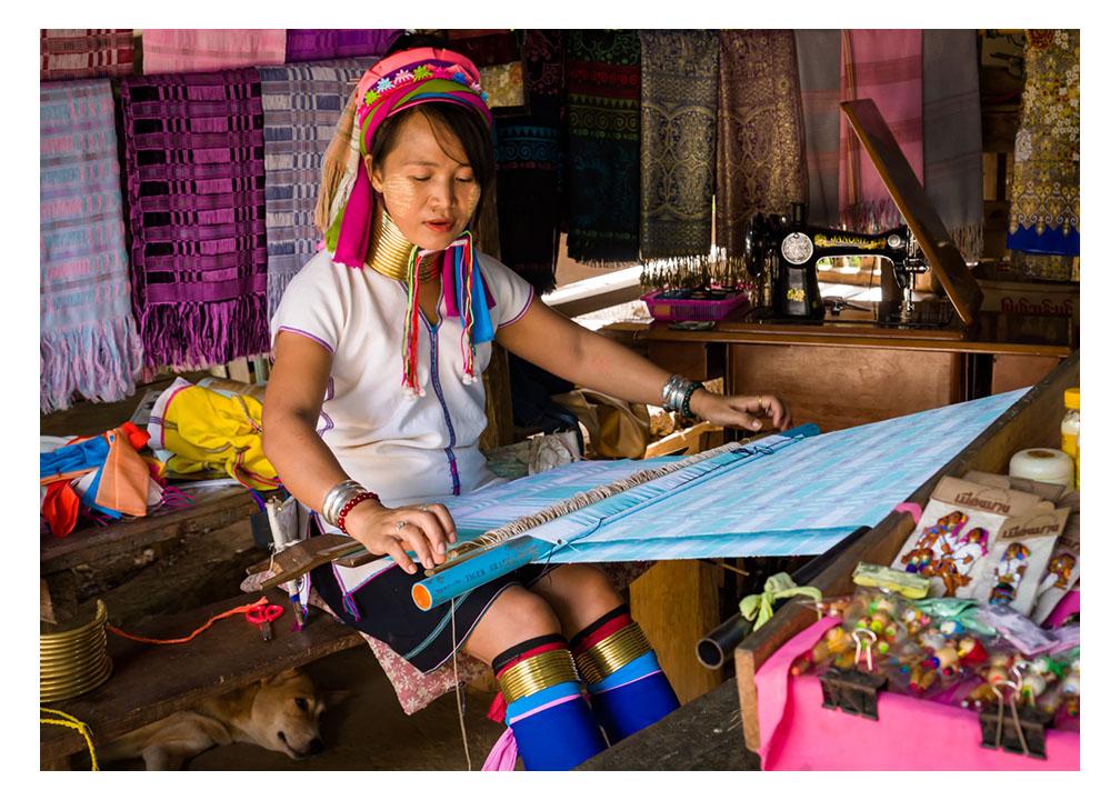 Kayan woman and her dog Thailand Fine Art Print
