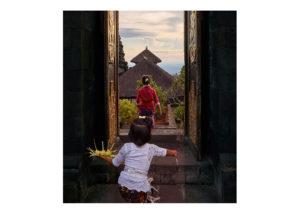 Young girls exiting Besaki temple Bali Fine Art Print
