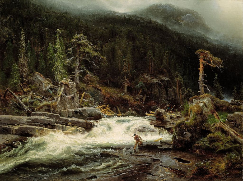 Painting of a waterfall in the mountains