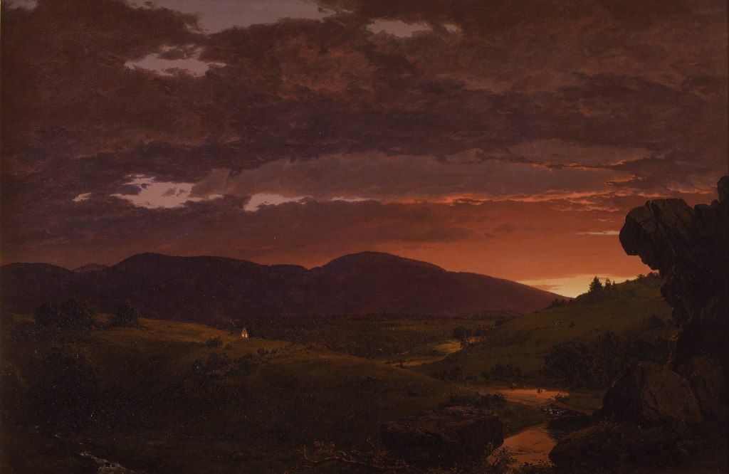 Painting of hills at sunset