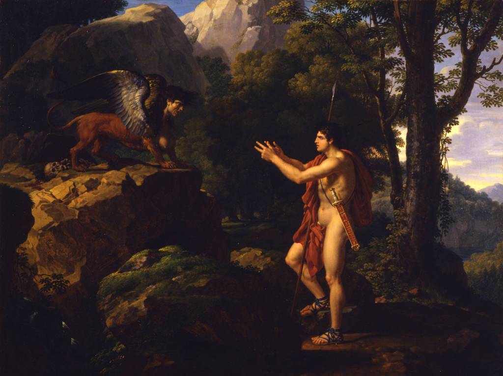 Painting of Oedipus meeting the sphinx.