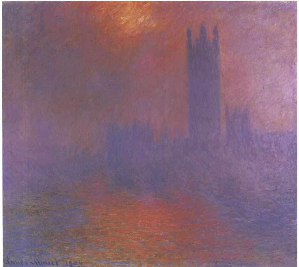 Impressionist painting of the Houses of Parliament in London