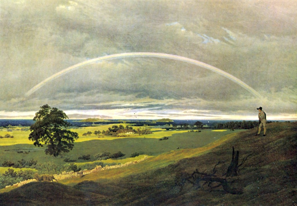 """Painting of a man and a rainbow to accompany the blog post """"What is a character arc?"""""""