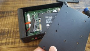 With only one screw installed you can rotate the SSD to line it up with the SATA connector
