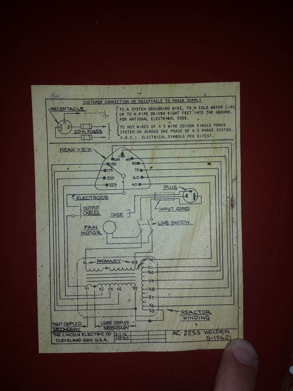 Lincoln Ac 225 Plug Wiring Diagram Diagrams Welder 26 Images For An Old Arc