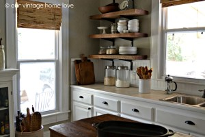 beautiful-reclaimed-wood-kitchen-cabinet-design-white-modern-stained-wood-kitchen-cabinet-with-brown-ceramic-top-3-tier-rustic-wall-kitchen-shelf-2-clear-glass-jar-white-ceramic-jar-varnished-wooden-k