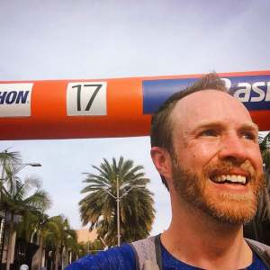 Passing mile 17 at the LA Marathon
