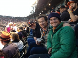Photograph of Jon, Nick, and I at San Francisco Giants game May 17, 2014.