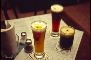 Photograph of beverages on a table.