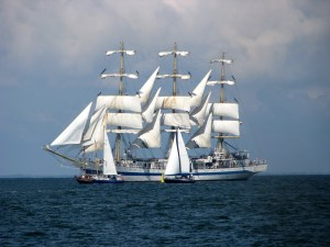 Photograph of sailing ships.