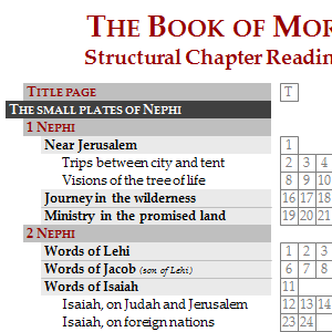 Structural chapter reading chart: The Book of Mormon