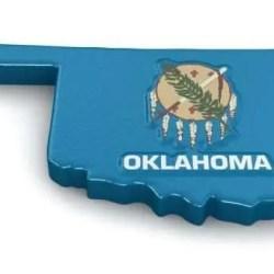 Oklahoma map with flag
