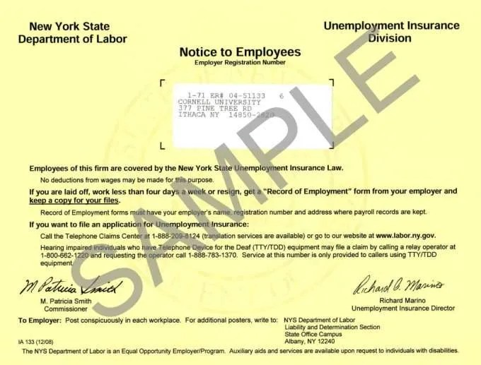 New York Unemployment Insurance Poster