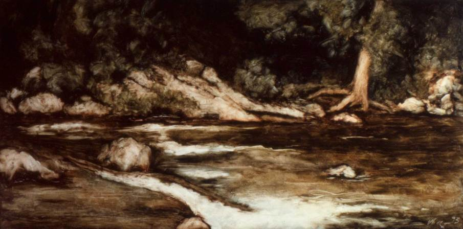 Spruce Creek, oil on panel, 6 X 14, 1993, private collection