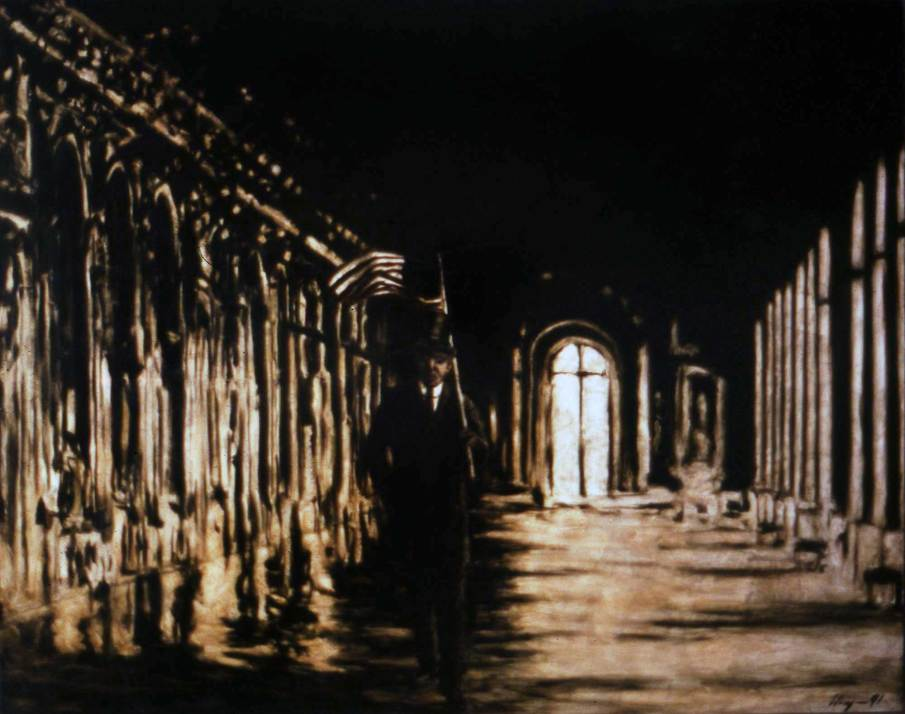 Woodrow in the Hall of Mirrors, oil on canvas, 48 X 60, 1991, private collection