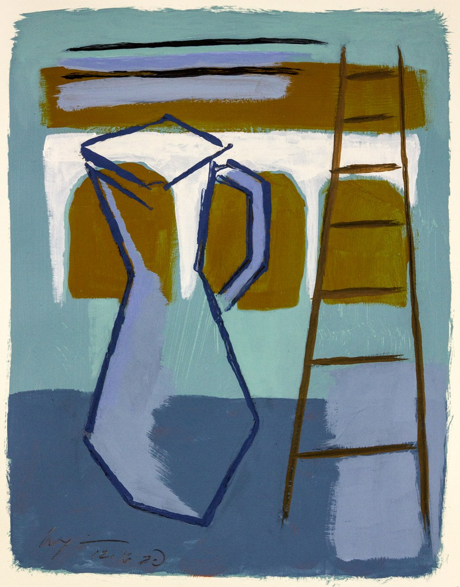Jug and Ladder. latex and charcoal on paper, 17 X 14, 2021