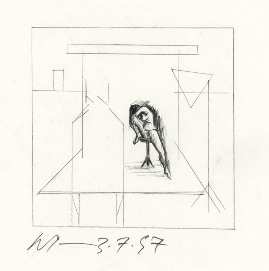 Studio Scene with Seated Nude, graphite on paper, 5 X 5, 1997
