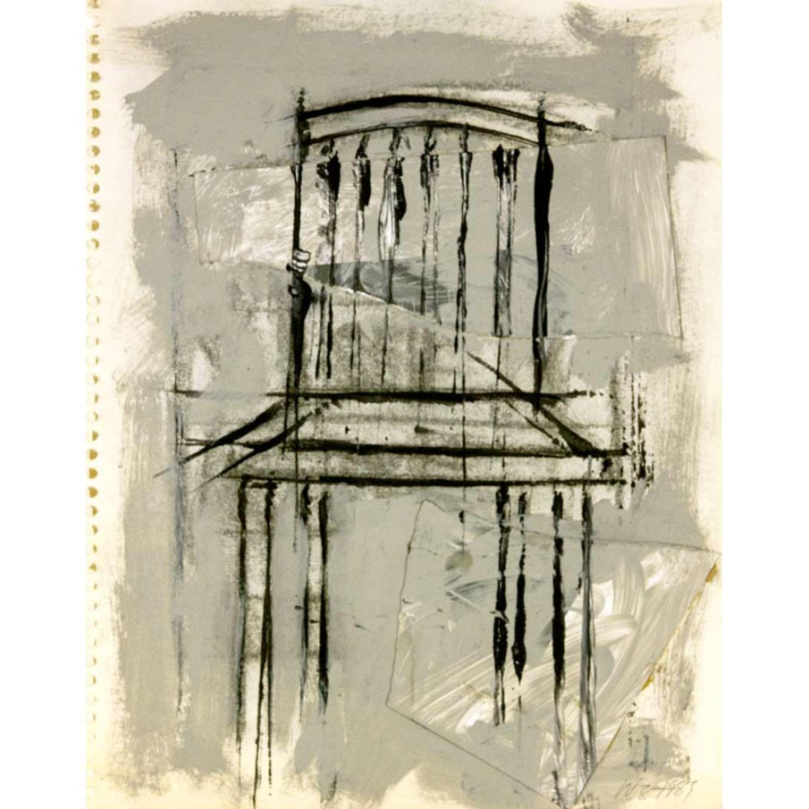 Chair, mixed media on paper, 14 X 11,  1989
