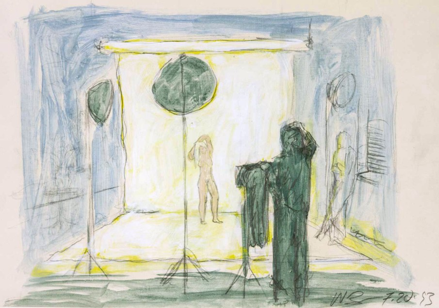 Studio Scene with Standing Nude, mixed media on paper, 16 X 20, 1993