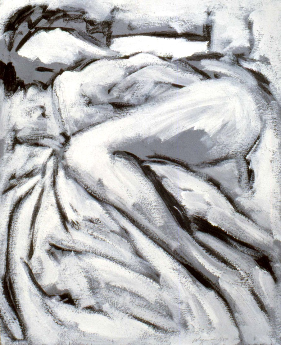 Reclining Nude, acrylic on board, 24 X 20, 1987, private collection