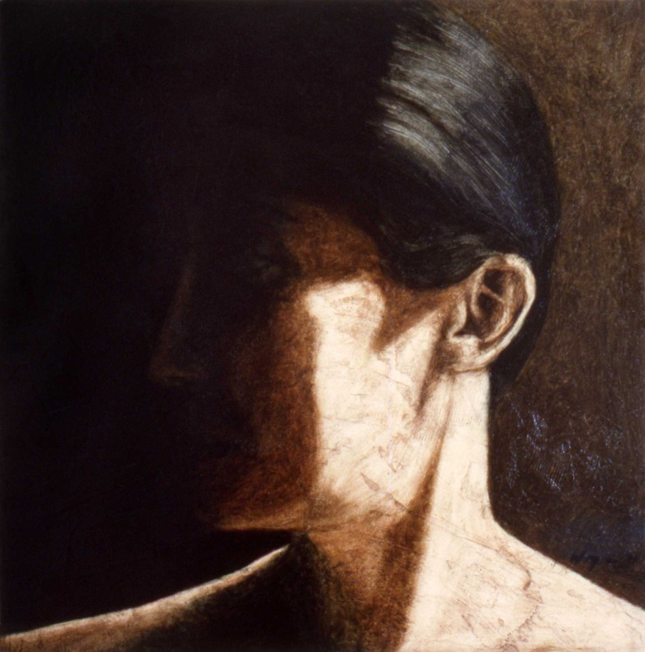 Portrait of J in Shadow, oil on canvas, 20 X 20, 1991, private collection