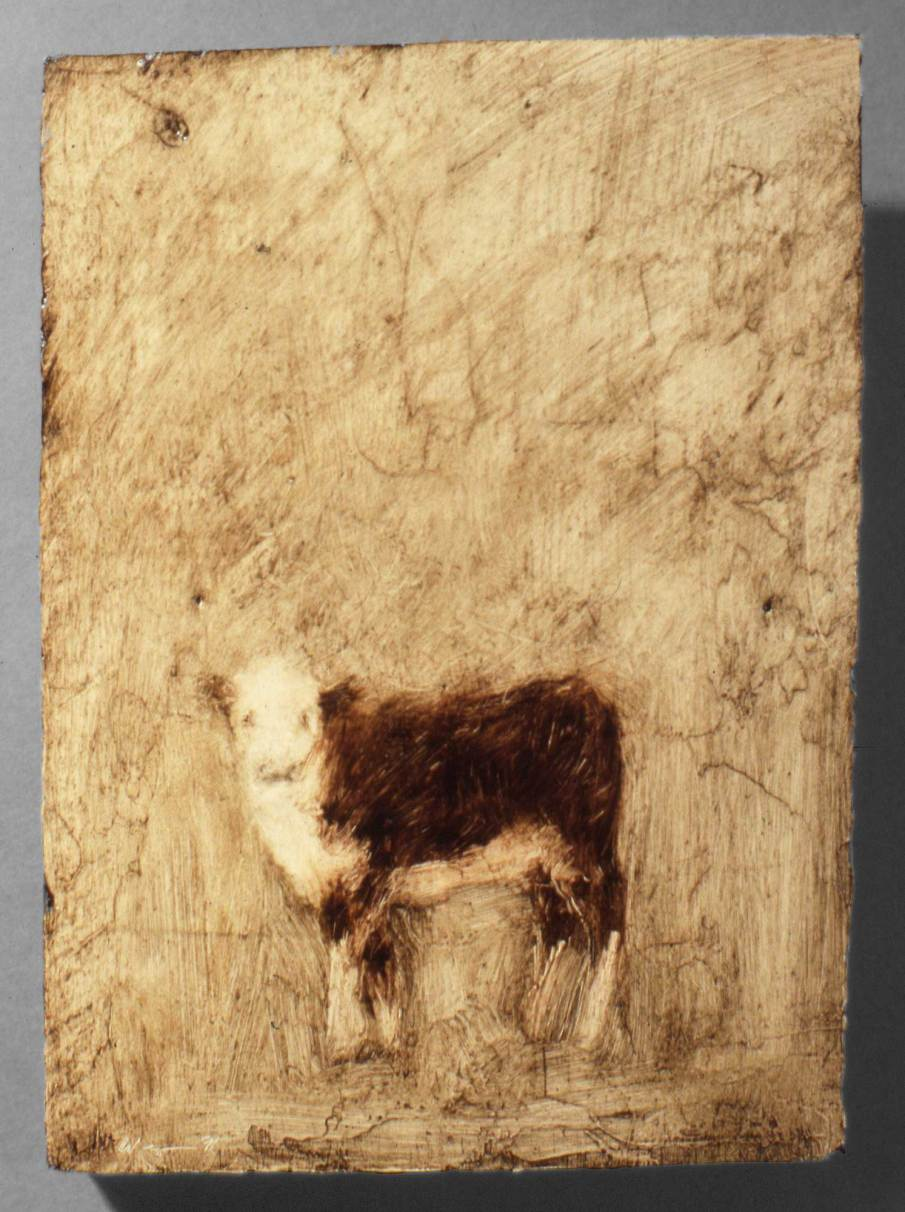 Calf, oil on wood, 8 X 5, 1991, private collection