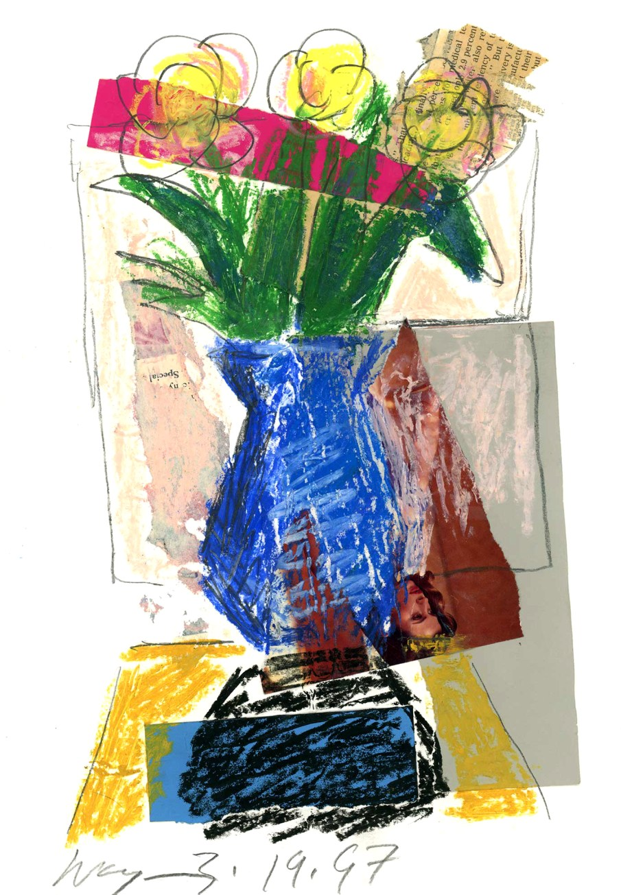 Blue Vase, mixed media on paper, 14 X 11, 1997