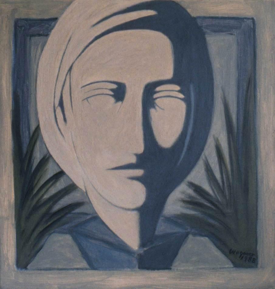 Head, acrylic on canvas, 20 X 20, 1988