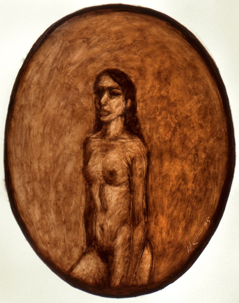 Standing Nude, oil on paper, 30 X 22, 1993, private collection