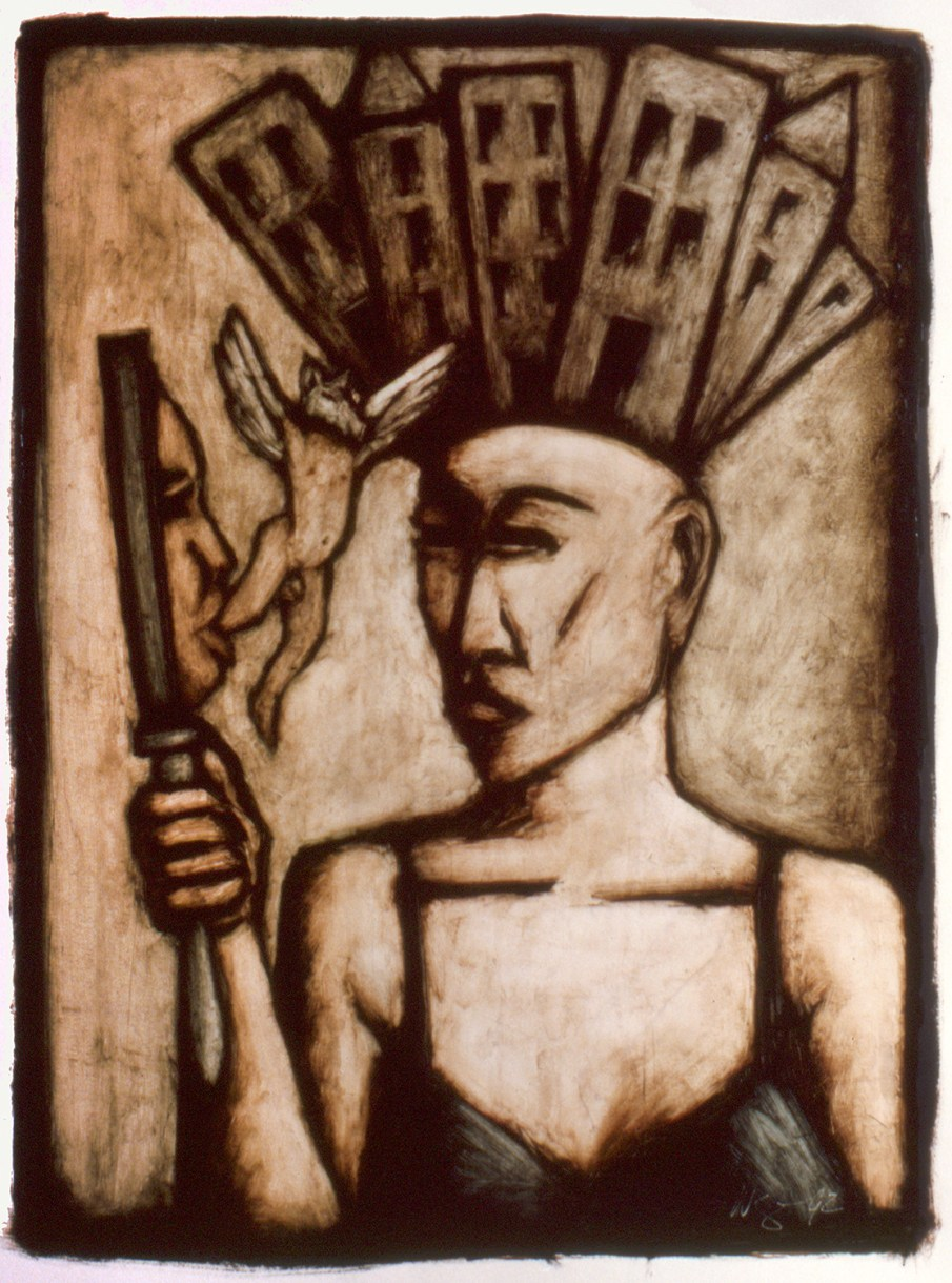 Metropolis, oil on paper, 30 X 22, 1992, private collection