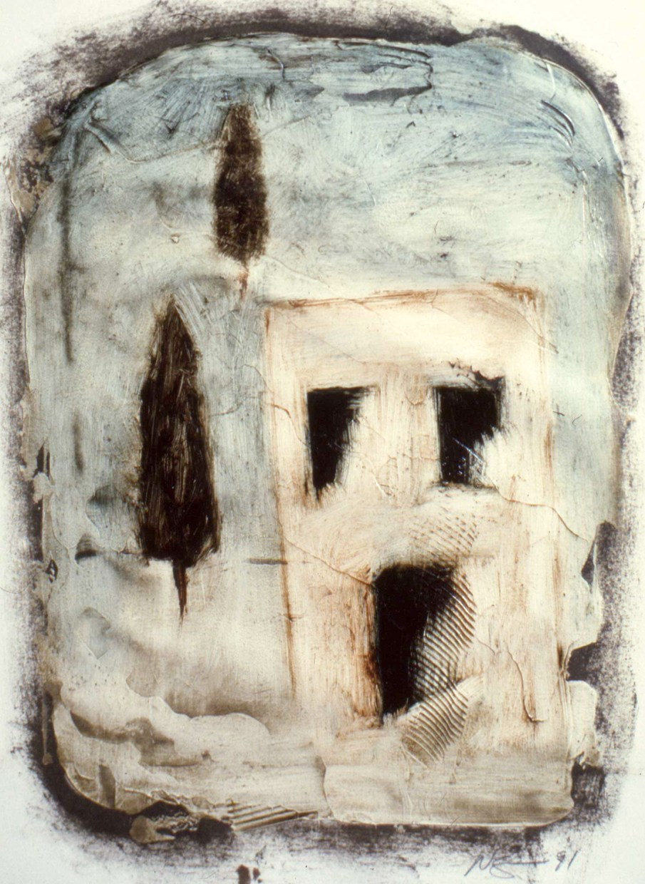 House and Cypress Trees, oil on unstretched canvas, 14 X 12, 1991
