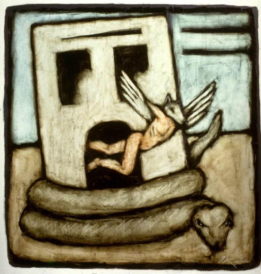 Escape, oil on paper, 11 X 11, 1992, private collection