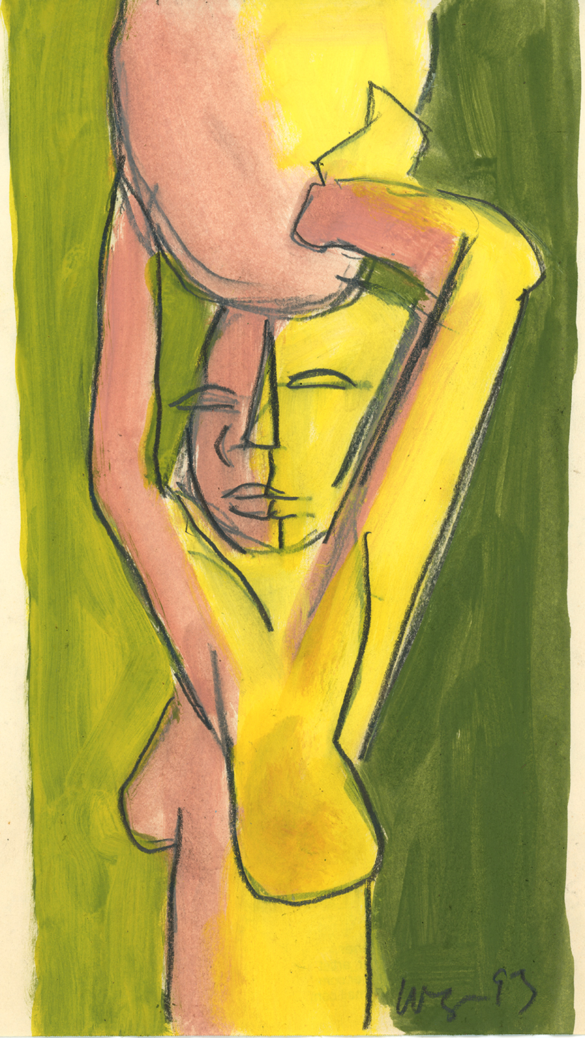 Woman Carrying Water, watercolor on paper, 11 X 8, 1993