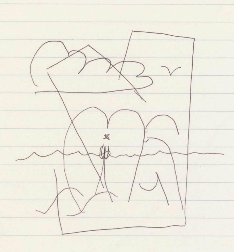 Beach, ballpoint on notebook paper