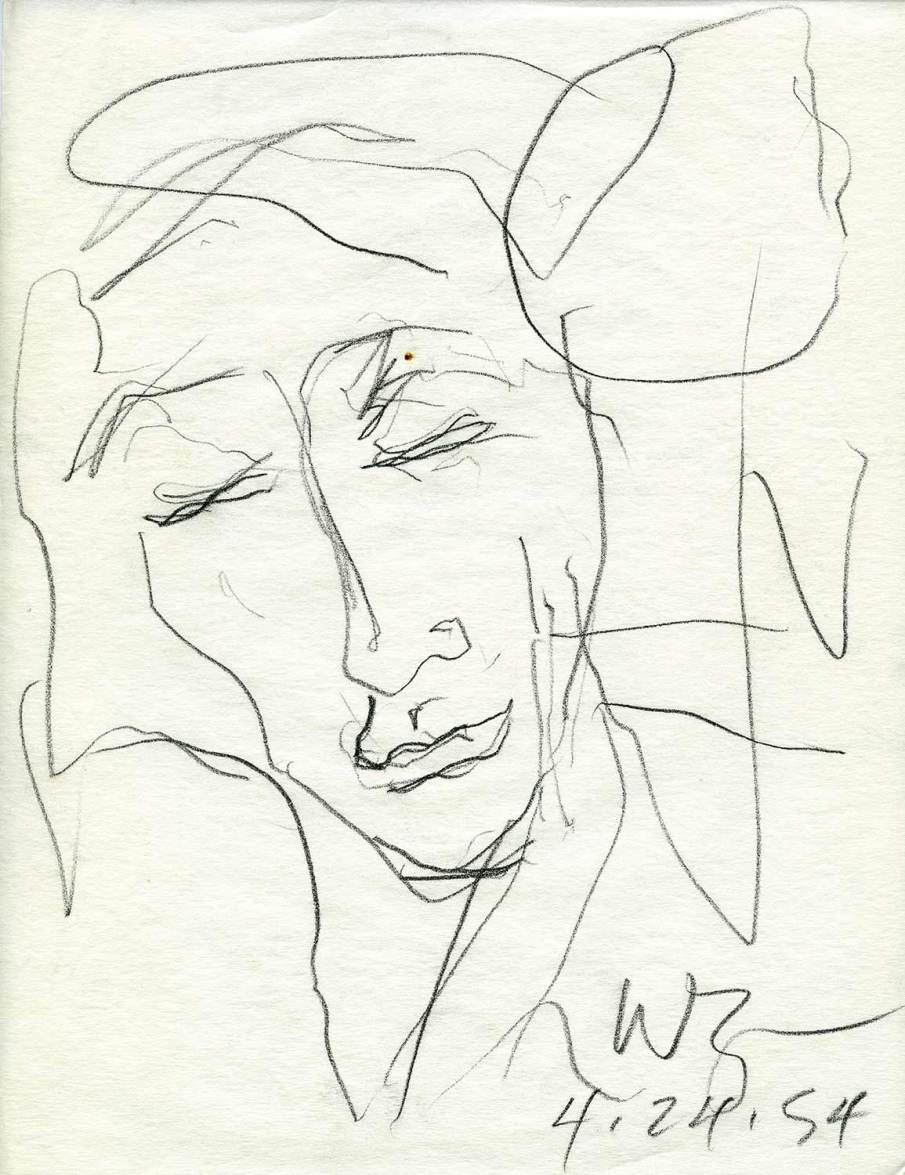 Sleeping Sunbather, graphite on onionskin, 11 X 8.5, 1994