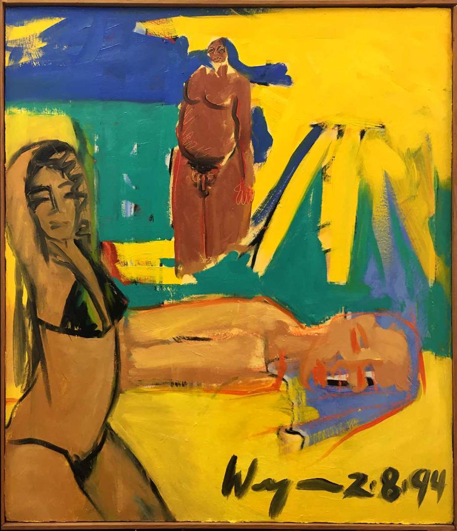 Sunbathers and Naked Man, oil on canvas, 36 X 30, 1994