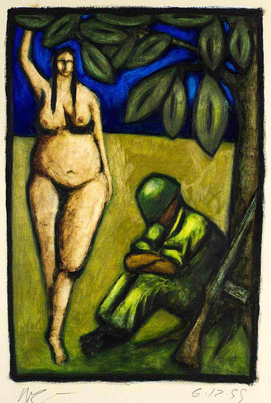 Fat Betty and Sleeping Soldier, oil on paper, 30 X 22, 1999