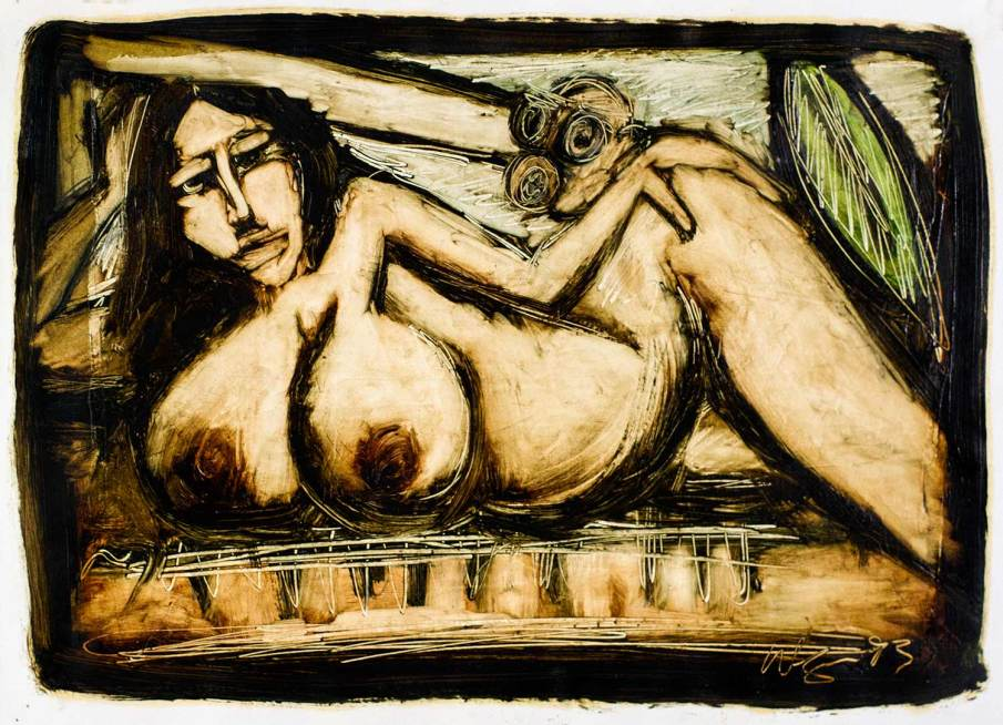 Nude In The Garden, oil on paper, 12 X 15, 1993