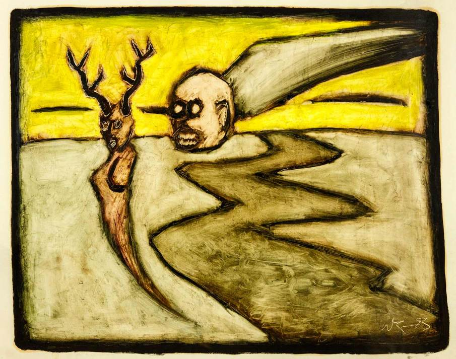 Hunted, oil on paper, 22 X 30, 1993