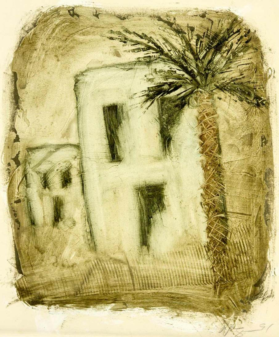 Palm Tree and Two Houses, oil on paper, 14 X 12, 1991