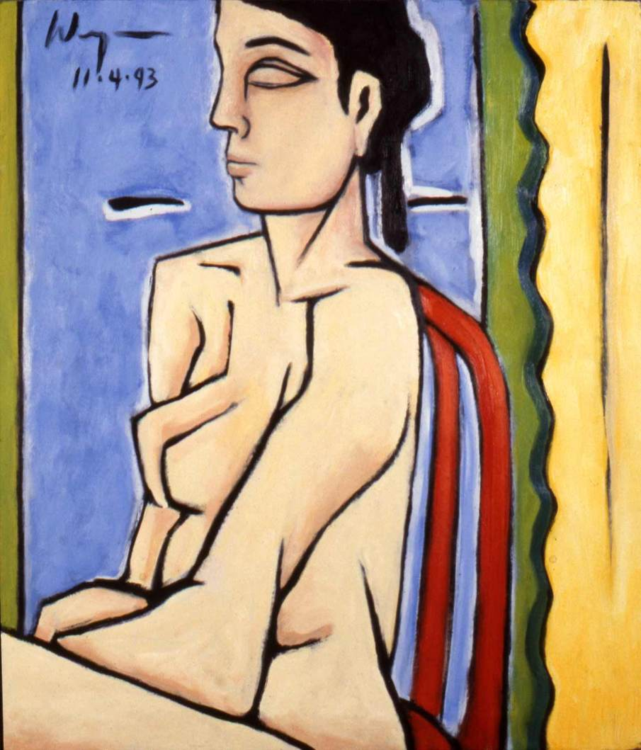 Seated Nude in Red Chair, oil on canvas, 36 X 24, Whereabouts unknown