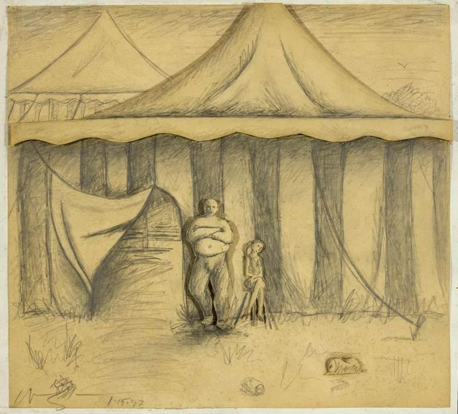 Circus, mixed media on cardboard, 9 X 10, 1997