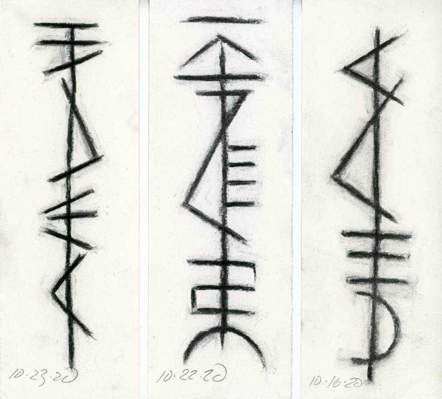 3 Sigil Drawings, charcoal on paper, each 8.5 X 3. 2020