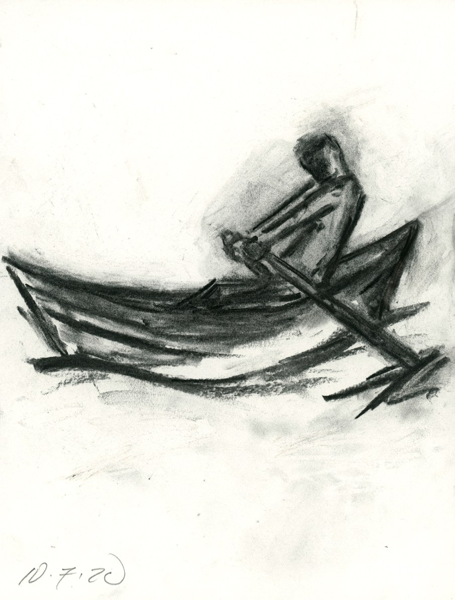 Man in a Boat, Charcoal on Paper, 11 X 8.5, 2020