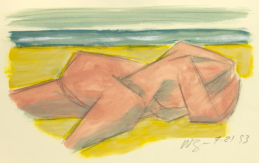Pink Bather, mixed media on paper, 13 X 20, 1993