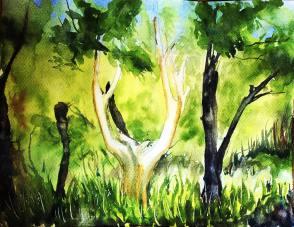 Arbre d'or dans la forêt de Brocéliande