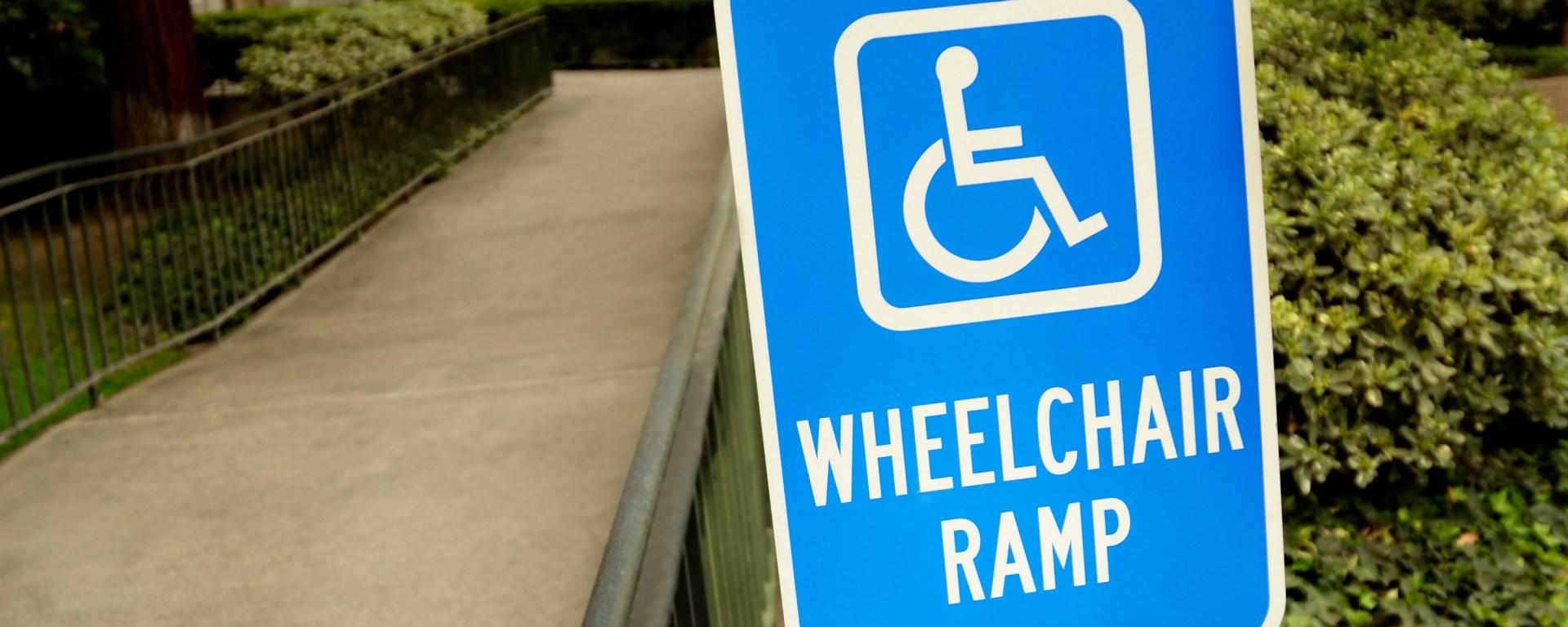 handicap wheelchair ramp sign