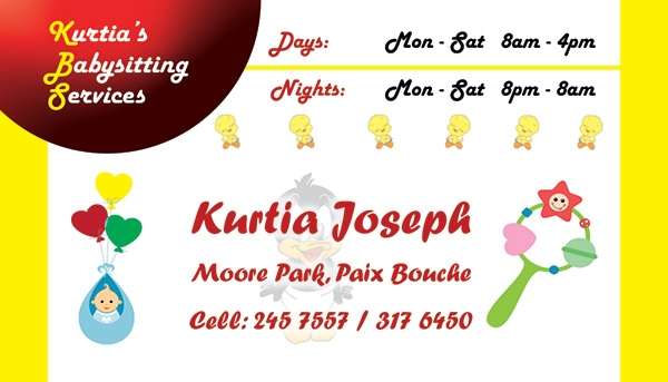 Kurtia's Babysitting Services Business Card