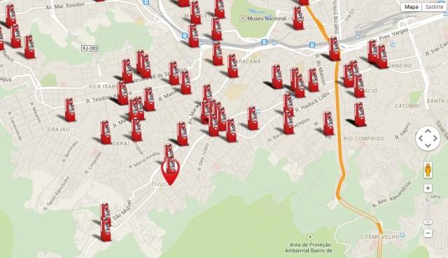 No mapa, onde estão localizados os caixas do Banco24horas na Grande Tijuca